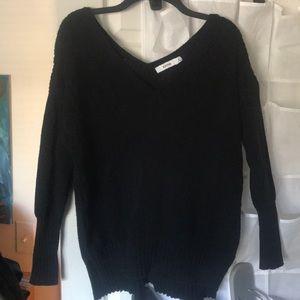 Black v neck and back sweater